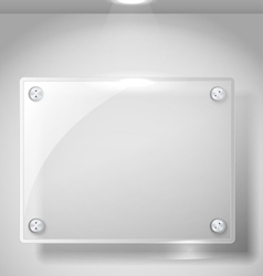 Square advertising glass board with a spot lignt vector image vector image