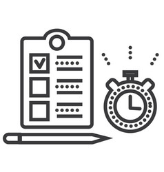 time management line icon sign vector image vector image