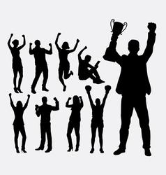 Winner people silhouettes vector image