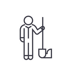 worker with shovel linear icon sign symbol vector image