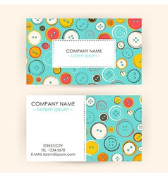 Business Card with Sewing Buttons vector image vector image