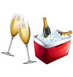 Champagne glasses and icebox vector image vector image