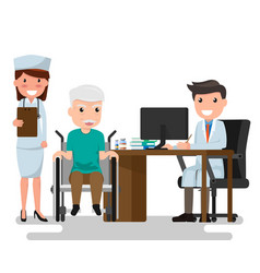 doctor and older man patient in flat style vector image