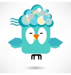 fly of bird to hand creative idea vector image
