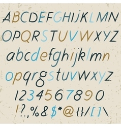 Hand drawn alphabet in retro style ABC for your vector image