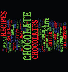 Meat in chocolate related recipes text background vector