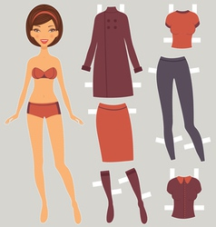 Paper doll autumn vector image vector image