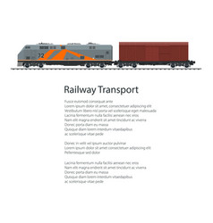 Poster locomotive with closed wagon vector