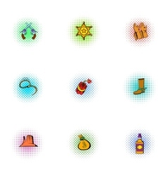 Wild West of America icons set pop-art style vector image vector image