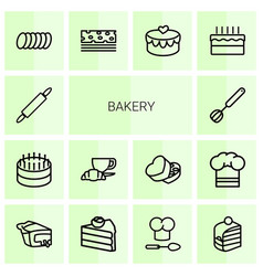14 bakery icons vector