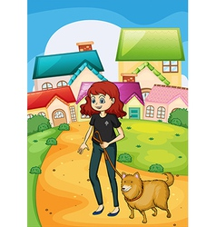 A lady walking with her pet vector