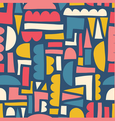 Abstract shapes seamless pattern paper cut vector
