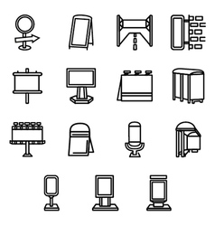 Advertising elements simple line icons vector
