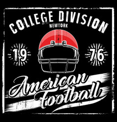 american football helmet varsity t shirt graphics vector image