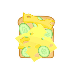 Appetizing sandwich with slices of fresh cucumber vector