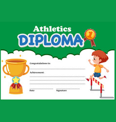 Athletics diploma certificate template vector