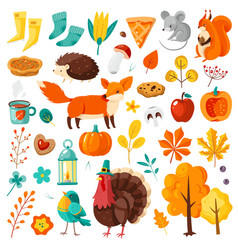 Autumn set yellow falling leaves forest animals vector