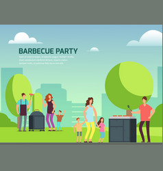 barbecue party design cartoon character families vector image