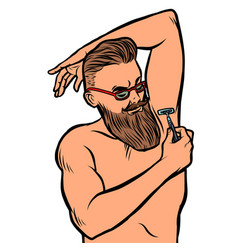 bearded hipster man shaves his armpit with a razor vector image