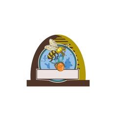 Bee Carrying Honey Pot Skep Circle Drawing vector image