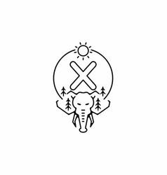 Black line art elephant head with x initial vector