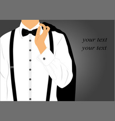 black suit with bow tie on postcard vector image