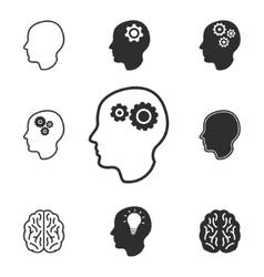 Brain icon set vector