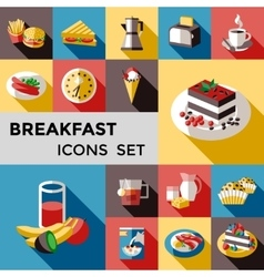 Breakfast Square Icon Set vector image