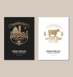 butcher shop badge or label with cow beef farm vector image