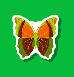 Butterfly paper sticker on stylish background vector