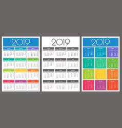 calendar 2019 year colorful set vector image