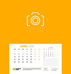calendar for april 2021 week starts on monday vector image