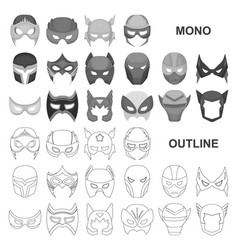 Carnival mask monochrom icons in set collection vector
