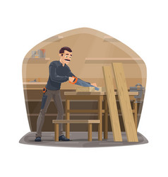 Carpenter man at work carpentry woodwork tools vector