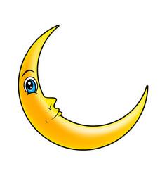 cartoon crescent moon with eyes symbol icon design vector image