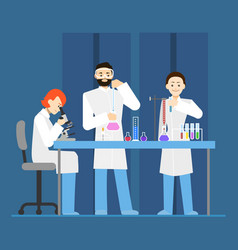 cartoon scientists working at lab concept vector image