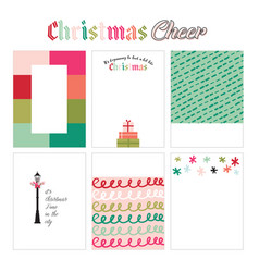 Christmas cheer journal cards vector