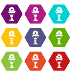 Church goblet glyph icons set 9 vector