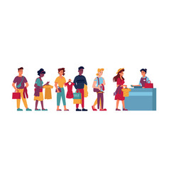 clothing store queue people with clothes in hands vector image