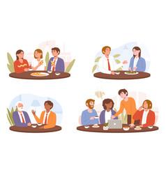 Collection diverse multiracial happy colleagues vector