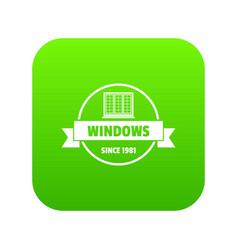 Construction decotrative icon green vector