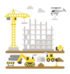 Construction site machineries flat design vector