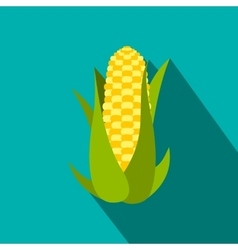 Corn cob flat icon with shadow vector