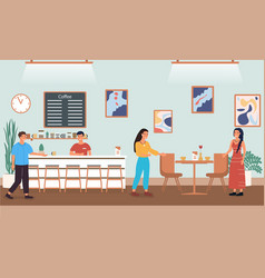customers in a coffee shop vector image