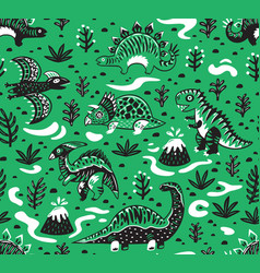 Cute cartoon dinosaurs seamless pattern in white vector