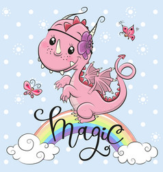 cute cartoon dragon on a blue background vector image