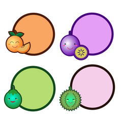 cute fruit with a circle banner vector image