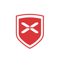 design red shield with white cross isolated on vector image