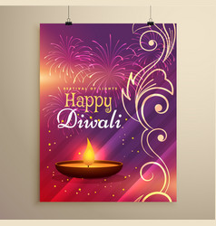 Diwali festival flyer design in beautiful colors vector