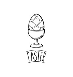 easter egg on stand greeting card design vector image